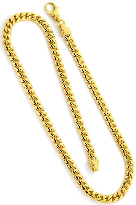 Foto 3, Gewoelbte Flachpanzer Goldkette massiv Gelbgold 14K/585, K2493