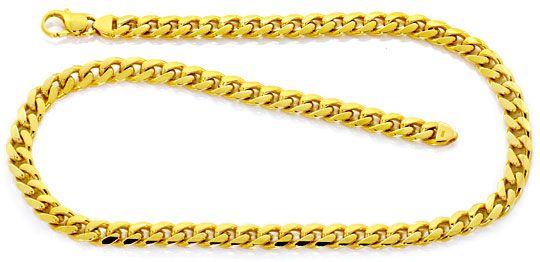 Foto 1, Schwere gewölbte Flachpanzer Goldkette Gelbgold 14K/585, K2494