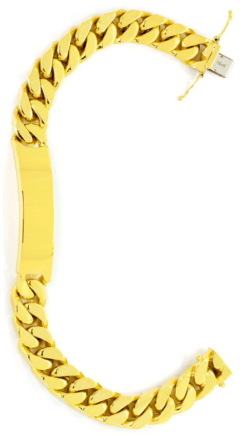 Foto 2, Schweres Identitäts Goldarmband massiv Gelbgold 14K/585, K2495
