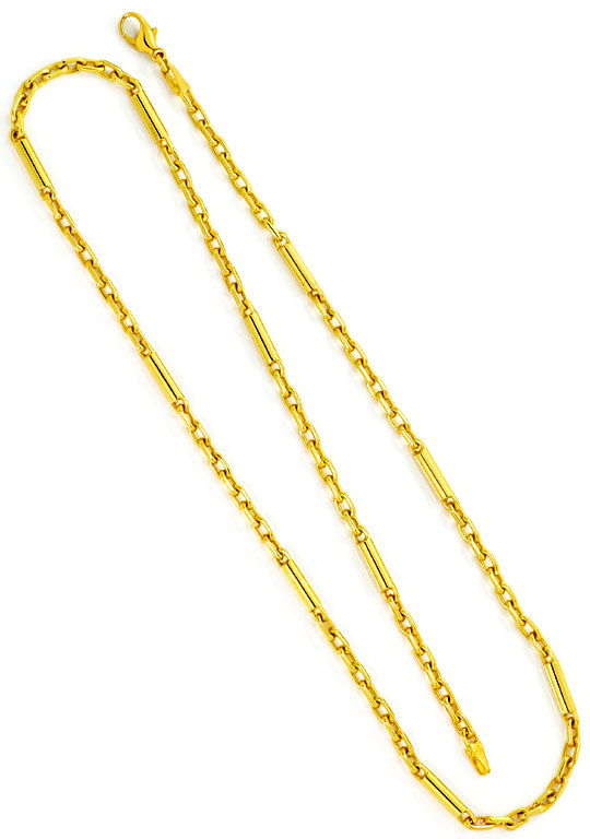 Foto 3, Anker Goldkette mit Langen Gold Zylindern Gelb Gold 14K, K2497