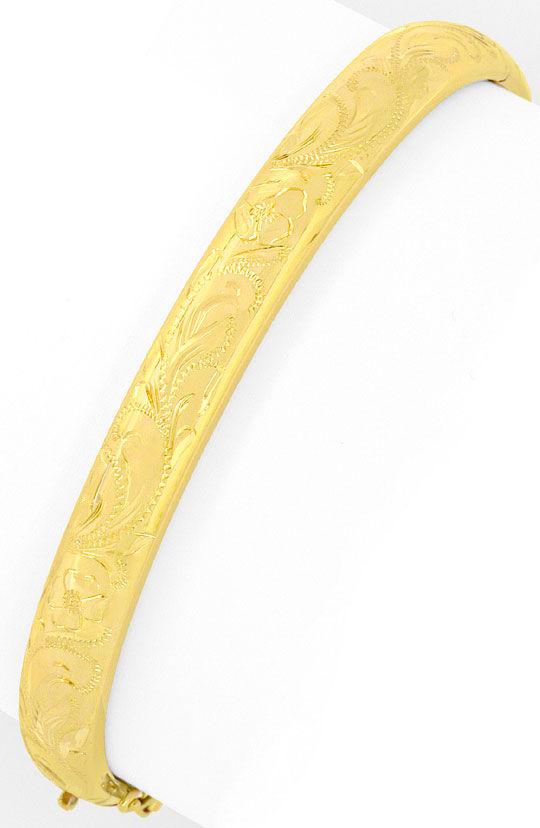 Foto 2, Goldarmreif Florale Gravuren Goldarmspange Gelbgold 14K, K2498