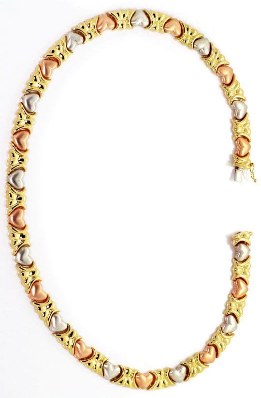 Foto 5, Garnitur Design Herz Kollier Herz Armband, Tricolor 14K, K2501