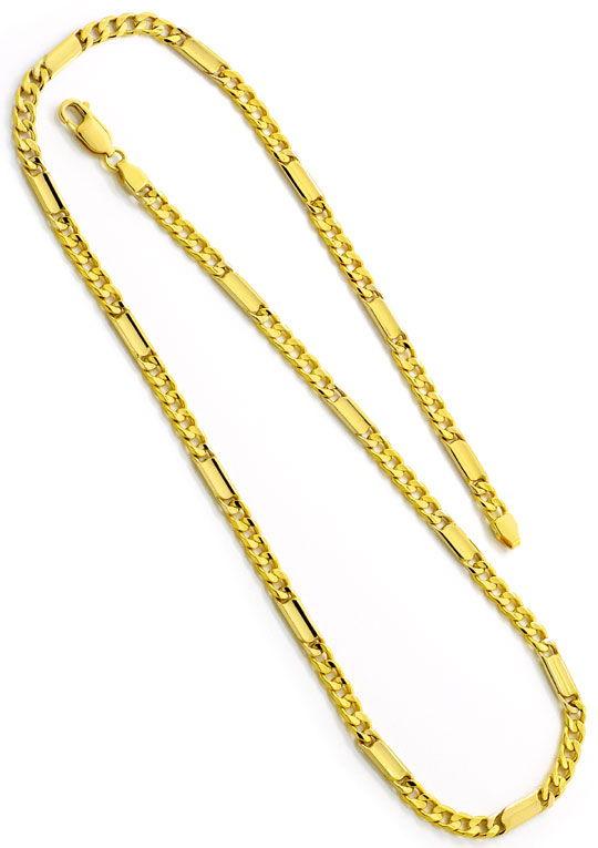 Foto 2, Goldkette Flachpanzer mit Plättchen massiv Gelbgold 14K, K2502
