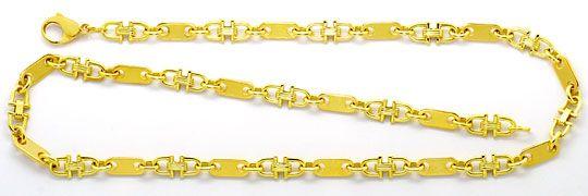 Foto 1, Massive Steigbügel Plättchen Goldkette Gelbgold 14K/585, K2506