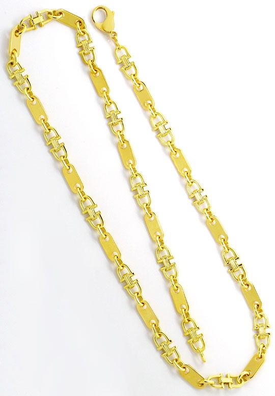 Foto 3, Massive Steigbügel Plättchen Goldkette Gelbgold 14K/585, K2506