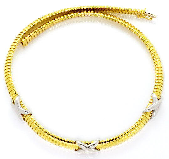 Foto 1, Goldkollier Spiralenkette Gelbgold Weissgold Kreuze 14K, K2508
