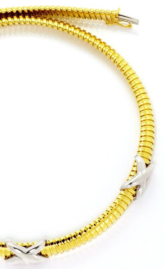 Foto 3, Goldkollier Spiralenkette Gelbgold Weissgold Kreuze 14K, K2508