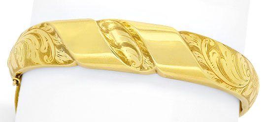 Foto 1, Gelbgold Goldarmreif Florale Gravur Sicherheitskettchen, K2509