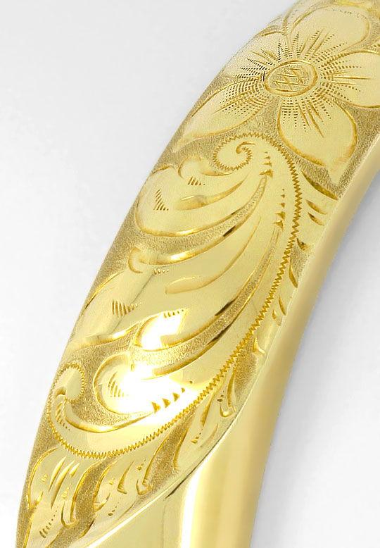 Foto 3, Gelbgold Goldarmreif Florale Gravur Sicherheitskettchen, K2509