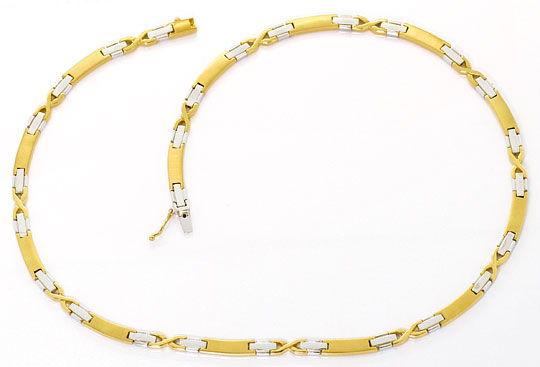 Foto 1, Gold Kollier aus Weissgold und Gelbgold Fantasie Muster, K2513