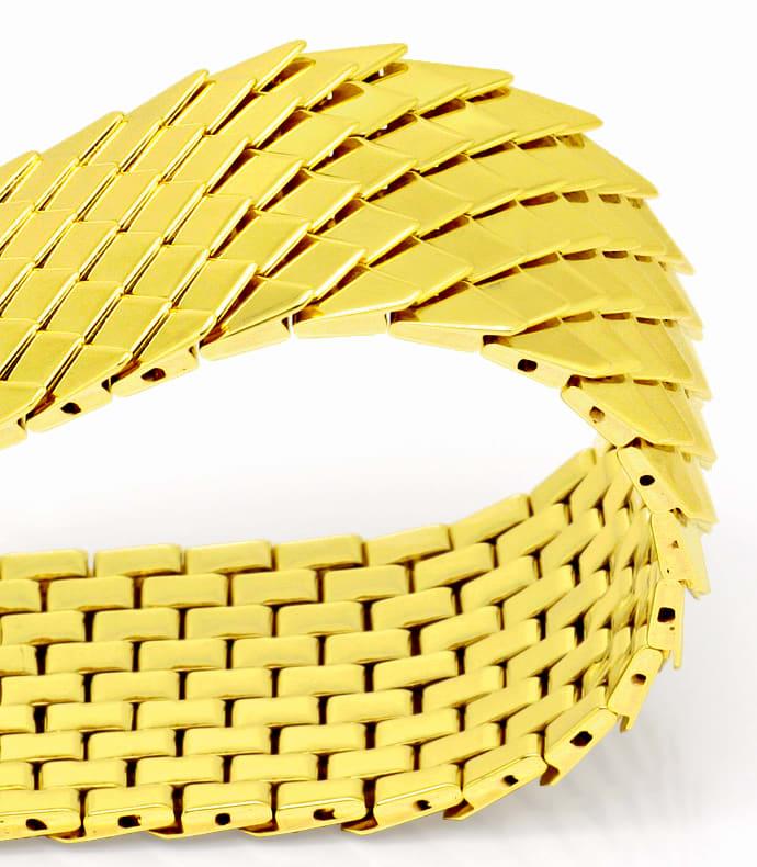 Foto 2, Goldarmband Aufwendiges Schuppenmuster massiv Gelb Gold, K2517