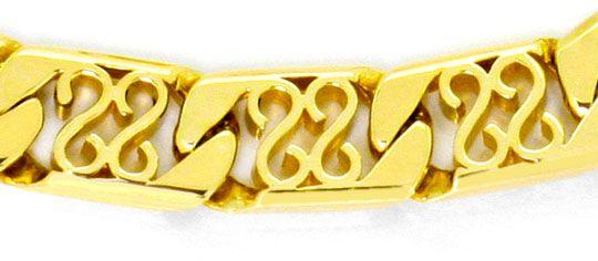 Foto 2, Armband Flachpanzer S Ornamente massiv Gelbgold 14K/585, K2518
