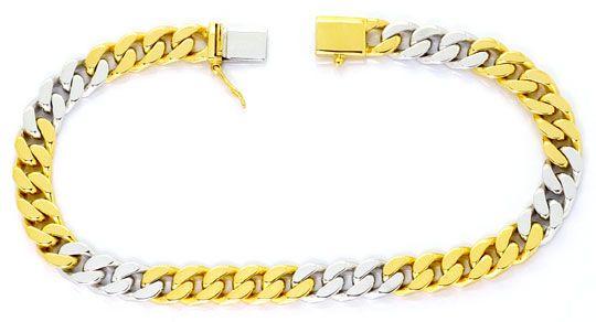 Foto 1, Massives Flachpanzer Goldarmband Gelbgold Weissgold 18K, K2519
