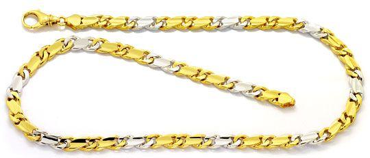 Foto 1, Goldkette Dollar Muster massives Gelbgold Weissgold 14K, K2524