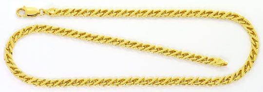 Foto 1, Massive Gold Kette Dollar Muster Karabiner Gelbgold 18K, K2525