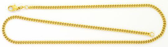 Foto 1, Flachpanzerkette Karabiner Verschluss Gelb Gold 14K/585, K2526