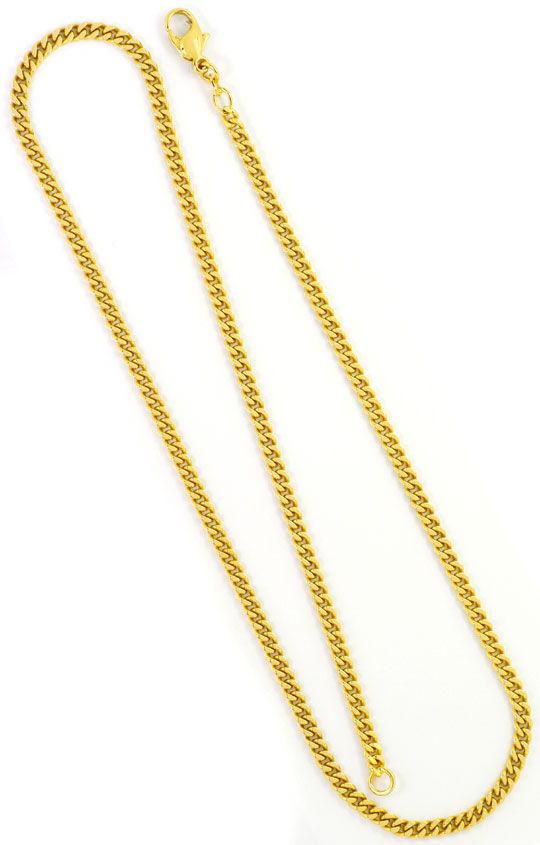 Foto 3, Flachpanzerkette Karabiner Verschluss Gelb Gold 14K/585, K2526