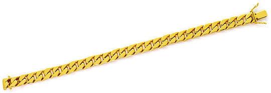 Foto 1, Flachpanzerarmband Kastenverschluss massiv Gelbgold 14K, K2528