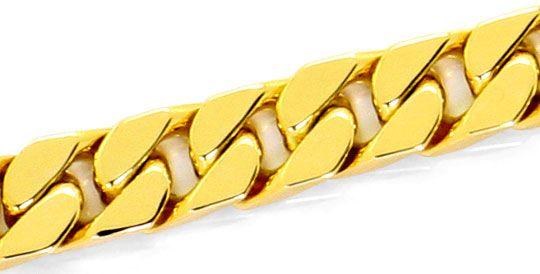 Foto 2, Flachpanzerarmband Kastenverschluss massiv Gelbgold 14K, K2528