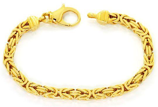 Foto 1, Königsketten Goldarmband Karabiner, massiv Gelbgold 14K, K2531