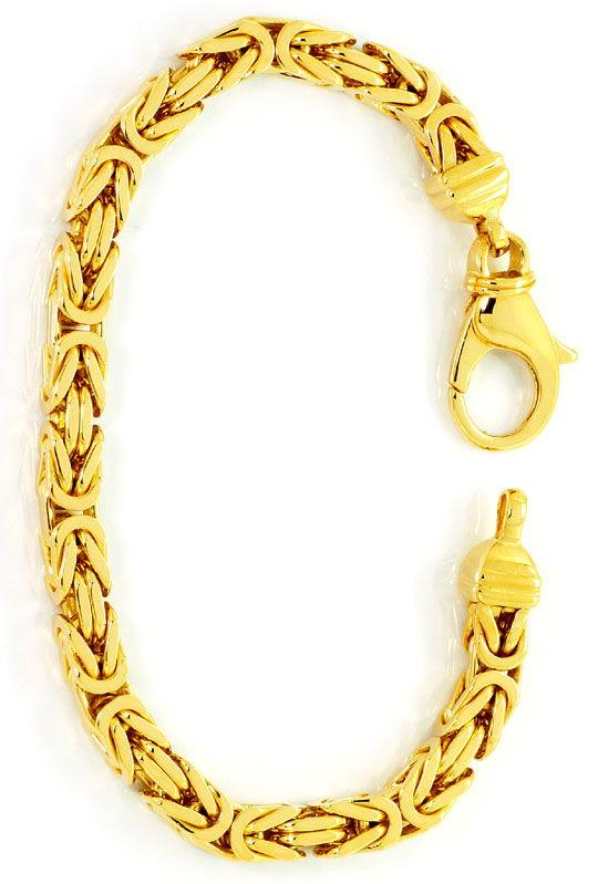 Foto 3, Königsketten Goldarmband Karabiner, massiv Gelbgold 14K, K2531