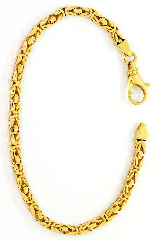 Foto 3, Goldarmband Königsketten Muster massiv Gelbgold 14K/585, K2532