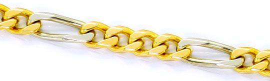 Foto 2, Massive Flachpanzer Figaro Goldkette Gelbgold Weissgold, K2533