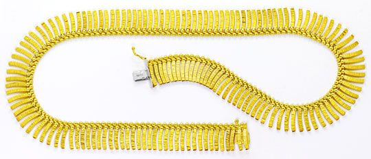 Foto 1, Goldkollier Stäbchen Muster, Goldkette Gelbgold 14K/585, K2536