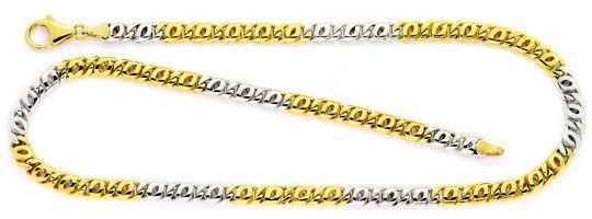 Foto 1, Massive Pfauenauge Tigerauge Gold Kette Bicolor 14K/585, K2537