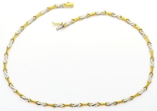 Foto 2, Set Kollier und Armband Designer Muster Gelb Weiss Gold, K2539