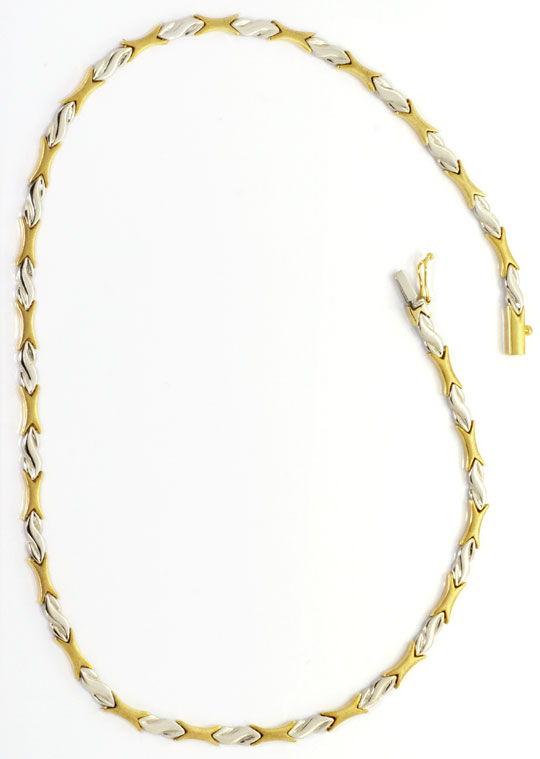 Foto 5, Set Kollier und Armband Designer Muster Gelb Weiss Gold, K2539