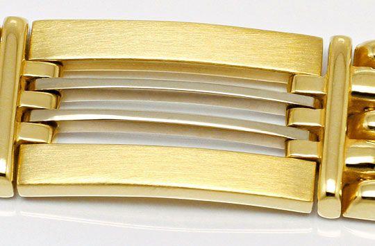 Foto 2, Design Goldarmband Backstein Stäbchen Muster Gelb Weiss, K2540