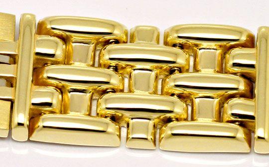 Foto 3, Design Goldarmband Backstein Stäbchen Muster Gelb Weiss, K2540