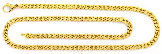 Foto 1, Flachpanzer Kette massive Goldkette Karabiner Gelb Gold, K2543