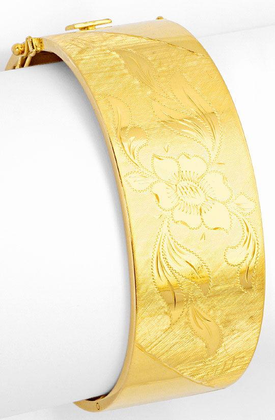 Foto 3, Goldarmreif Blüten Gravuren Guillochierung Gelbgold 18K, K2544
