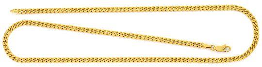 Foto 1, Flachpanzer Goldkette massiv Gelbgold 18K/750 Karabiner, K2546