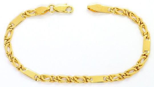 Foto 1, Set Kette - Armband, Pfauenauge Tigerauge Plättchen 14K, K2551