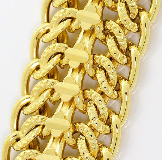 Foto 2, Gold Armband vierreihiges Panzerband Gelbgold 14K / 585, K2555