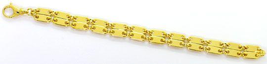 Foto 1, Plättchen Gold Armband Doppelreihig massiv Gelbgold 18K, K2558