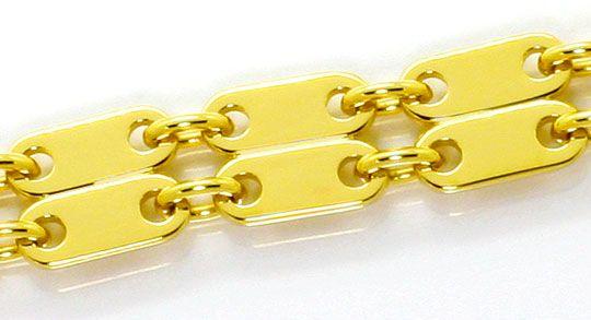 Foto 2, Plättchen Gold Armband Doppelreihig massiv Gelbgold 18K, K2558