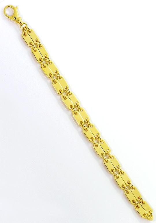 Foto 3, Plättchen Gold Armband Doppelreihig massiv Gelbgold 18K, K2558