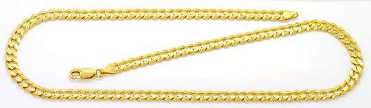 Foto 2, Set Goldkette Goldarmband Flachpanzer konkav 6 Kant 14K, K2559