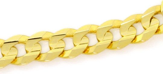 Foto 3, Set Goldkette Goldarmband Flachpanzer konkav 6 Kant 14K, K2559
