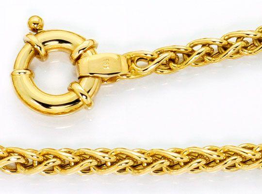 Foto 2, Gold Halskette Zopfmuster Goldkollier, Gelbgold 14K/585, K2565