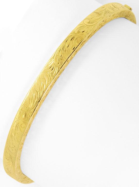 Foto 4, Gold Armreif Alt mit schönen Floralen Gravuren Gelbgold, K2567