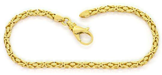 Foto 1, Goldkette und Goldarmband Königskettenmuster massiv 18K, K2569