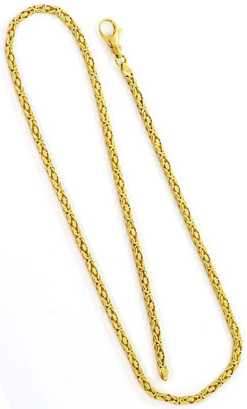 Foto 5, Goldkette und Goldarmband Königskettenmuster massiv 18K, K2569