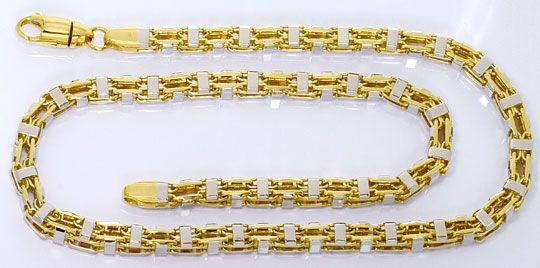 Foto 1, Super Schwere massive Gold Kette Gelbgold Weissgold 14K, K2571