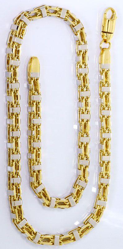 Foto 3, Super Schwere massive Gold Kette Gelbgold Weissgold 14K, K2571