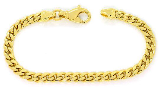 Foto 1, Gelbgold Set Kette und Armband Flachpanzer Gewoelbt 14K, K2573